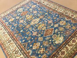 8andrsquo X 10andrsquo Light Blue Very Fine Geometric Oriental Rug Room Size Hand Knotted Wool