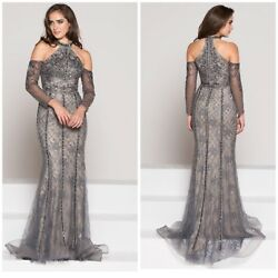 Nwt Color Couture J065 Halter Cold Shoulder Beaded Gunmatel-nude Emblished Gown