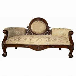 Victorian Style Cameo Backed Hand Carved Solid Hardwood Sofa