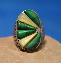 Navajo Sterling Silver, Malachite And Mother Of Pearl Ring Size 9 1/4