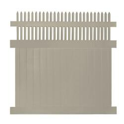 UV Protected Khaki Tremont 7-ft H x 8-ft W Durable Vinyl Privacy Fence Panel Kit