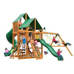 Cedar 13-ft Great Skye I Playset with Amber Posts and Deluxe Green Vinyl Canopy