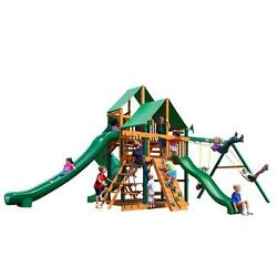 Cedar Deluxe Green Vinyl Canopy Great Skye II with Timber Shield Playset
