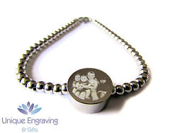 Personalised Photo / Text Engraved Round Charm Bracelet - Ideal Christmas Gift