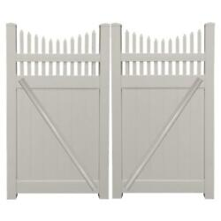 Tan UV Protected Halifax 7.4 ft. W x 6 ft. H Vinyl Privacy Double Fence Gate