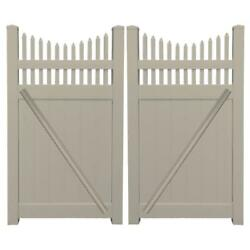 Khaki UV Protected 7.4 ft. W x 6 ft. H Halifax Vinyl Privacy Double Fence Gate