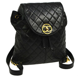 Authentic CHANEL Quilted CC Chain Backpack Bag Black Leather Vintage N00433