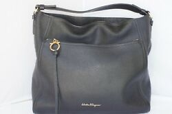 New Salvatore Ferragamo Ally Bag Women's Hobo Black Handbag Tote Leather