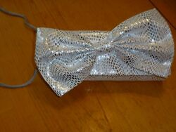 NWT! Silver Evening FIONA Hand Bag with Gold Tones and a Hugh BOW Purse Clutch