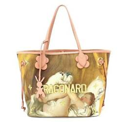 Auth LOUIS VUITTON Masters Fragonard Neverfull MM Tote Bag Pink M43319 90059093