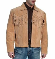 New Native American Western Light Brown Suede Leather Jacket Fringe