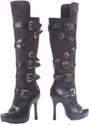 Morris Costumes Women's Knee High Faux Leather Bandit Leg Boot Black 8. HA74BK8