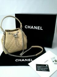 Chanel Chain Bucket Drawstring Bag Quilted Lambskin Light Beige White Metal NWT