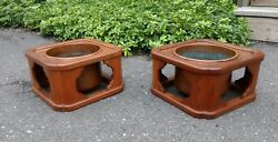 Pair Antique Japanese Planter Or Hibachi Wood And Copper