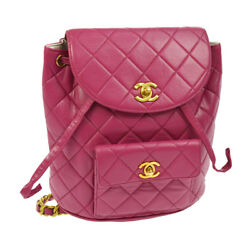 Auth CHANEL Quilted CC Chain Drawstring Backpack Bag Pink Leather VTG AK16976c