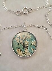 Choose A City Vintage Map Locations Sterling Silver 925 Pendant Necklace