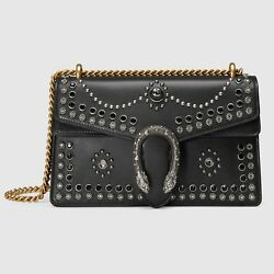 GUCCI DIONYSUS SMALL STUDDED BLACK LEATHER SHOULDER BAG CHAIN STRAP AUTH NWT