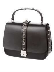 MICHAEL KORS COLLECTION MIA STUDDED FRENCH CALF LEATHER SATCHEL* READ LISTING*
