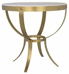 30 Set Of Two Side Table Metal Frame Antique Brass White Marble Top Round