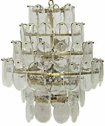 23 Chandlier Glass Drops Hang From 4 Tier Metal Frame Antique Brass Finish