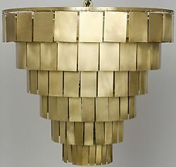 28 Chandelier Metal Square Hang From Round Frame Antique Brass 6 Tier