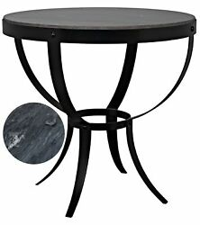 30 Set Of Two Side Table Night Stand Metal Frame Black Marble Stone Round 41