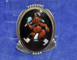 Augustine And Rosalie Pinto Zuni Sterling And Inlaid Mudhead Pendant C.1960s 2 1/2