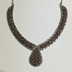 Sarah Chee S Navajo Sterling Silver Coral Hinge Necklace Native Jewelry Vintage