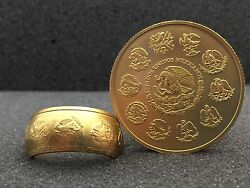 24k Solid Gold Coin Ring | From 1oz 999 Gold | Mexican Libertad