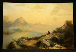 Great Landscape Mountain Lake View With Couple Stream And House 19 Th Century