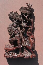 Chinese Culture Revolution Period Wood Carved Carving Hunter And Dog Figure Bird