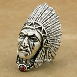 Handmade 925 Sterling Silver Indian Chief Cz Stone Mens Biker Punk Ring 9t007d