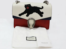 Gucci Dionysus Panther Shoulder Bag White Navey Red 403348 Used Rare