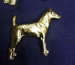 VINTAGE 1970s Kenart gold plated SMOOTH FOX  TERRIER JACK RUSSEL DOG PIN brooch