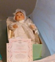 Knowles Porcelain Dolls - Catherineand039s Christening Doll Of Baby Book Treasures