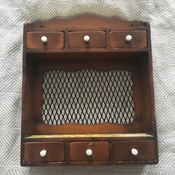 Vintage Farmhouse Manchester Wooden Spice Cabinet Shelf Drawers Louise Thompson