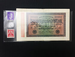 Ww2 Rare 1rp German Coin And 2 Unused Stamps And German Bill In Holder.