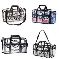 Kemier Clear Travel Makeup Bag With 6 External PocketsCosmetic Organizer Case W