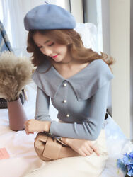 Autumn Sweet Womens Doll Collar Fitted Long Sleeve Knit Top Sweater Shirt Blouse