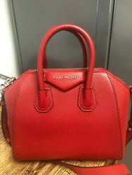 New Authentic Givenchy Women's Antigona Small Leather Satchel - Bright Red
