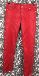 Tractor Girls Red Geometric Print Stretch Skinny Pants Size 16 Great Condition