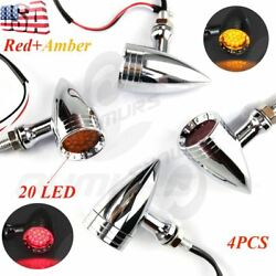 4X Chrome Red +Amber 20 LED Motorcycle Stop BrakeRunning Turn Signal Tail Light