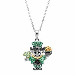 Crystaluxe Leprechaun Pendant With Crystals In Sterling Silver