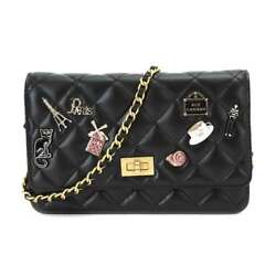 Auth CHANEL Chain Wallet 2.55 Leather Black A80834 2018SS Women's 90051647