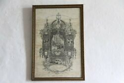 French Religious Communion Certificate 1923 Vintage Lithograph First Communion