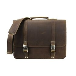 Leather Messenger Bag Vintage Laptop Briefcase Made in USA by Rugged Material
