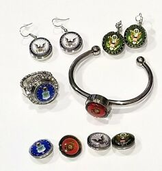 Military Snap Jewelry Army, Navy, Air Force Marines Various Styles