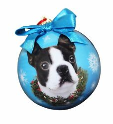 Boston Terrier Christmas Ornament Shatter Proof Ball Easy To Personalize A Pe...
