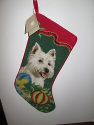 WESTIE West Highland Terrier  Needlepoint Handmade Christmas Dog Stocking NWT