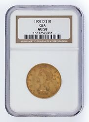 1907-d G10 Gold Liberty Head Graded By Ngc As Au-58 Released By Gsa